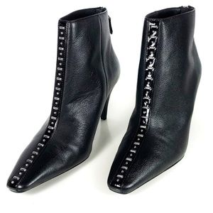Zara booties black studs leather black ankle Sz 8